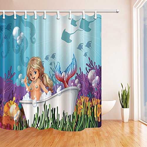 BCNEW Mermaid Shower Curtain Decor Naked Girl Bathtub Undersea World Fish Coral Bubble Children Kid's Bathroom Curtain Polyester Fabric Machine Washable with Hooks 70x70 Inches
