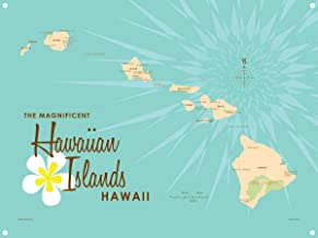 Hawaiian Islands Turquoise Vintage-Style Map Metal Art Print by Lakebound (9
