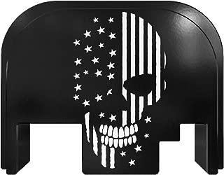 Rowe Tactical Glock Gen 1-4 Rear Slide Cover Back Plate - Black Skull - American Flag Graphic - for Glock G17 G19 G21 G22 G23 G24 G26 G27 G29 G30 G31 G32 G33 G34 G35 G36 G37 G38 G39 G40 G41 G45