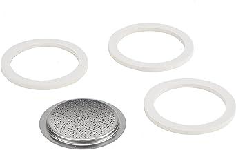 Bialetti Kaffeemaschine 4 Tassen Ersatz-Kit (Gummidichtung und Filter) in Edelstahl, weiß, 6.4 x 6.4 x 0.51 cm