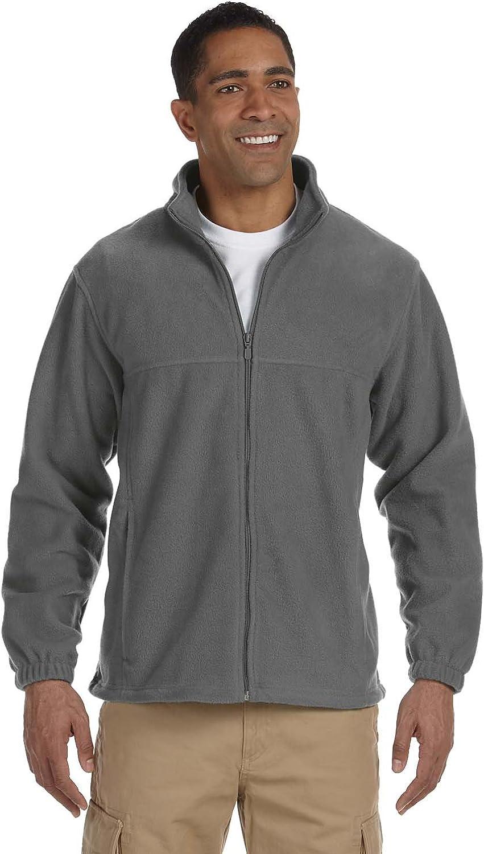 Harriton Men's Full Zip Midweight Fleece Pullover, Charcoal, XXXX-Large