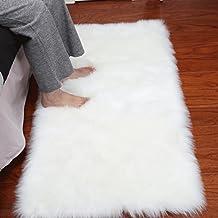 Noahas Luxury Fluffy Rugs Bedroom Furry Carpet Bedside Faux Fur Sheepskin Area Rugs Children Play Princess Room Decor Rug,...