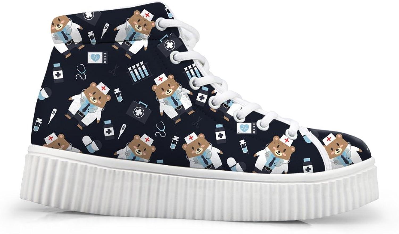 Mumeson Women High Top Platform Sneakers Girls Cartoon Doctor Nurse shoes