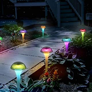 Mobestech Solar Lawn Lamp, Color Change Mushroom Shaped Outdoor Stake Lights, Solar Path Light for Garden, 6Pcs
