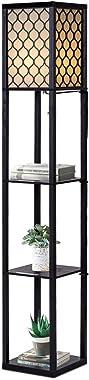 GOPLUS Lampadaire Intérieur 1,6M avec Tablettes de Rangement à 3 Niveaux, Lampe sur Pied, Abat-jour en Tissu, Ampoule E27+60W