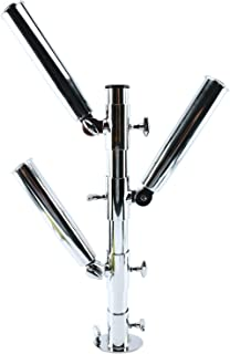 DasMarine Bird Tree 3 Fishing Rod Holder, Stainless Steel 316, Adjustable Vertical Heavy Duty Three Rod Holders with Base Compatible with 3