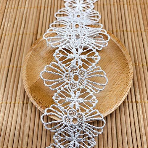 Keleily Cinta encaje blanco 15 yardas cinta de encaje estilo vintage cinta de encaje hueca bordada para coser manualidades de bricolaje Boda Scrapbooking Adorno Caja de regalo (4 cm de ancho)