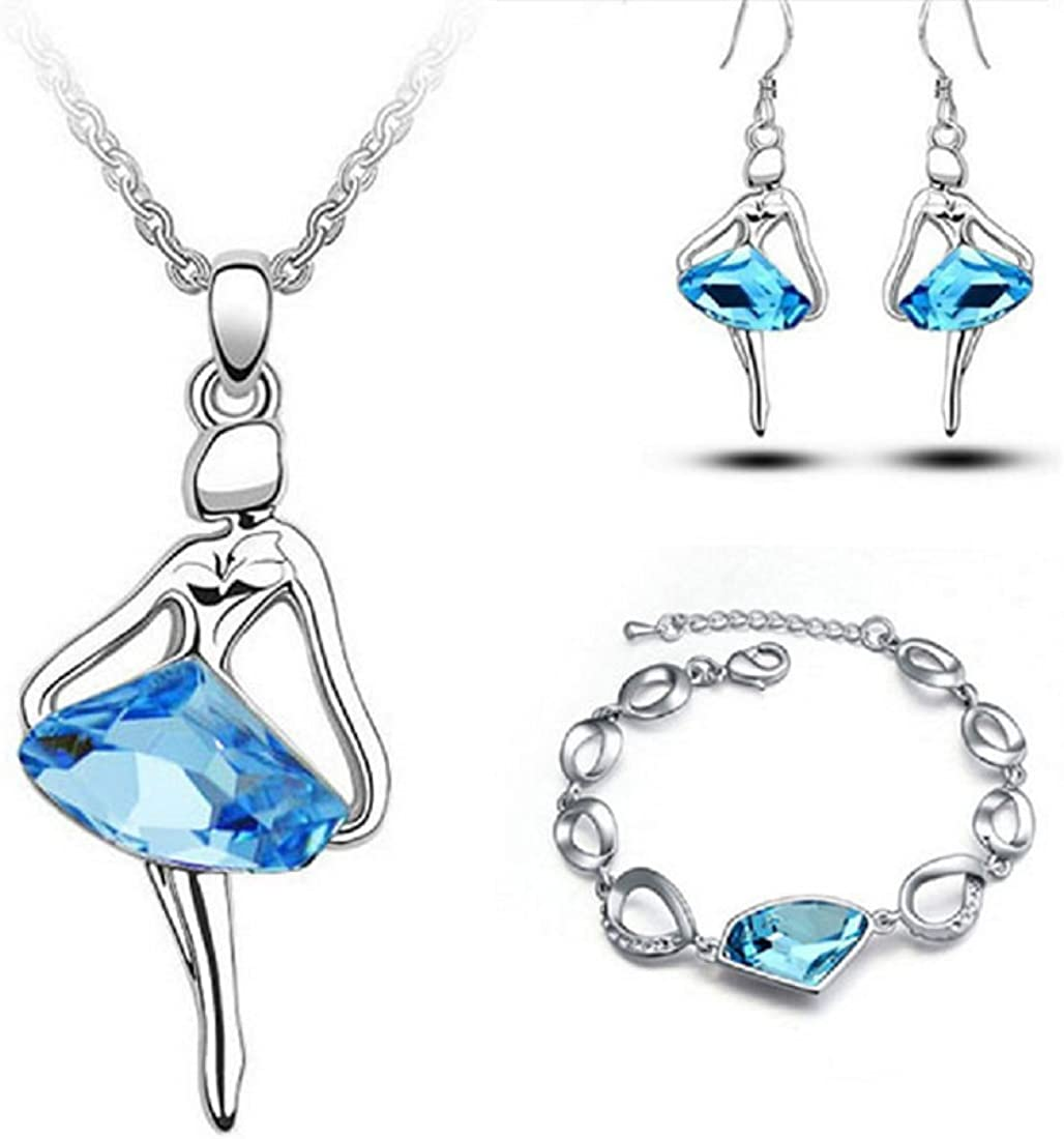 Dancing Ballerina Dancer Ballet Dance Long Sweater Chain with Swarovski Elements Crystal Pendant Necklace Bracelet and Earrings Set Fashion Jewelry for Women