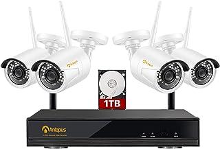 Anlapus 1080P Kit de Cámaras de Vigilancia WiFi 8CH H.265+ Grabador NVR Inalámbrico con 4 Cámara de Seguridad IP Exterior,...