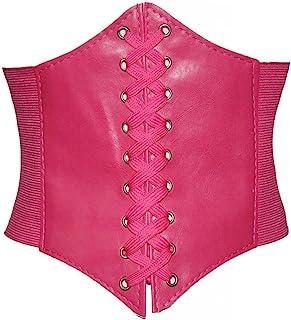 Alivila.Y Fashion Corset Women's Faux Leather Underbust Waist Belt Corset A13-Hot Pink