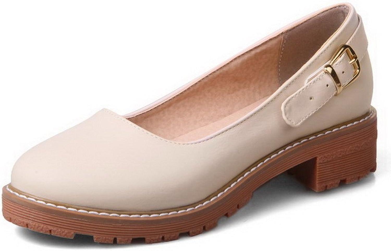 WeenFashion Women's Pu Low-Heels Round-Toe Soild Pull-On Court shoes
