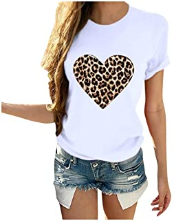 Dainzuy Blouse for Women Valentine`s Day Casual Short Sleeve Round Neck Leopard Print Heart Shaped Tops T Shirts