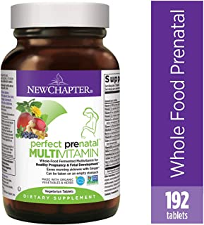 New Chapter Prenatal Vitamins, 192 Ct, Organic Non-GMO Ingredients - Eases Morning Sickness with Ginger, Best Prenatal Vitamins Fermented with Wholefoods for Mom & Baby