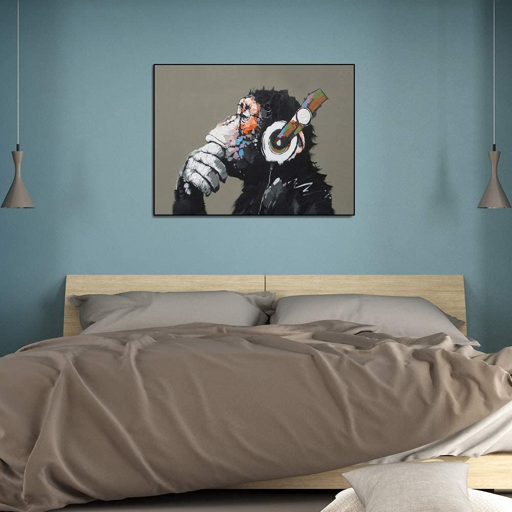 Buy Yongto Canvas Wall Art Prints Animal Music Gorilla Canvas Painting Modern Funny Thinking Monkey With Headphone Wall Art Decor For Home Hand Painted Poster Mural For Living Room 16x12 Inch Framed