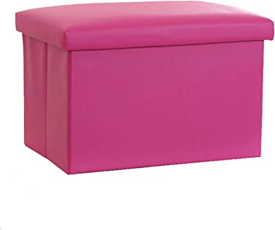 Folding Ottoman, Footrest Storage Box Leather Waterproof Storage Bench Footstool Padded Seat Suitable for Living Room Bedroom Office-45x30x30cm(18x12x12inch)-Rose Red