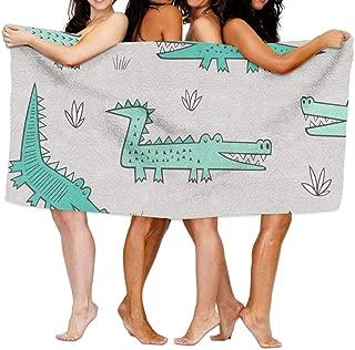 fjfjfdjk Alligators Crocodile Mint Green Large Beach-Towel Pool-Towel,Cotton, Easy Care, Maximum Softness and Absorbency.