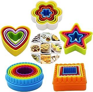 25 Pièces Ensemble de Biscuits aux Légumes, Emporte Piece Patisserie Biscuit Cookie Cutter Rond Kit,Moules à Biscuits de D...