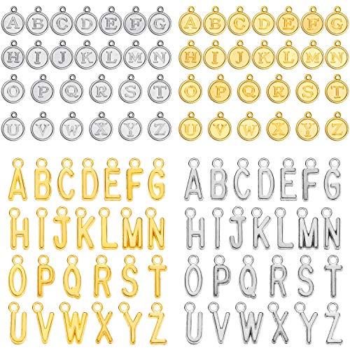 4 juegos/104 piezas mixtas del alfabeto encantos de la letra del alfabeto A-Z colgantes del encanto de la letra para la fabricación de joyería y la artesanía DIY
