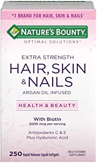 Nature's Bounty Extra Strength Hair Skin Nails, 5000mcg of Biotin (250 Count)