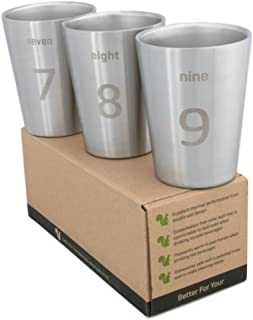Better For Your - Small Stainless Steel Double Wall Tumbler Cups, 8oz (250ml) - Set of 3 - Numbers and Words 7-8-9