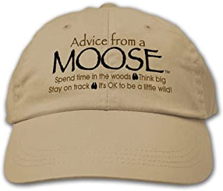 Advice from a Moose - Embroidered Khaki Hat, by Earth Sun Moon