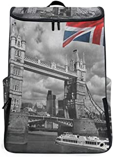 Retro London Tower Bridge UK Flag Union Jack Overnight Backpack College Laptop Bookbag with Shoe Compartment for Men Women