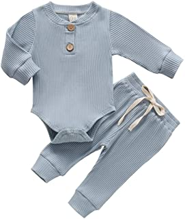 Newborn Baby Boy Girl Clothes Ribbed Knitted Cotton Long...