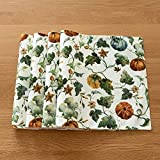 Cassiel Home Harvest Pumpkin 4pcs Placemats Autumn Pumpkins and Vines Thanksful Gatherful Blessed Table Decor Fall and Thanksgiving 13x19 Placemat(Set of 4)
