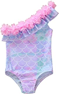 Toddler Baby e-Shoulder One-Piece Swimsuit Swimwear Ruffled Lace Floral Bathing Suit Beachwear