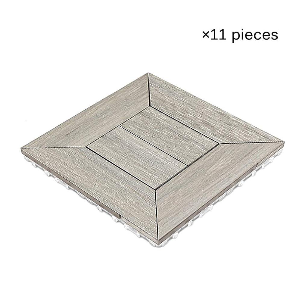 カウント落花生隣人ウッドデッキ、 木製の床、中庭のヴィラテラスのバスルーム屋外の防錆プラスチック製の木製の床、DIYステッチ、サイズ11.8 * 11.8インチ、(11個入り)、11個/㎡