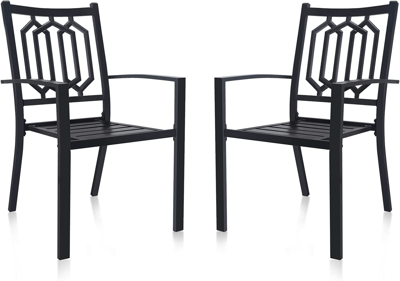 Japan's largest assortment MEOOEM Patio Dining Chairs Set Elegant of Outdoor Metal Stackable Arm 2