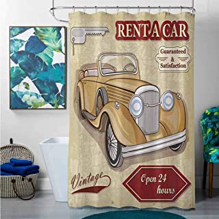 Shower Curtains Brown and Blue Cars,Vintage Car Rentals Commercial Illustration Print Keys Original Dated Auto Objects Design, Tan Red,W72 x L72 Halloween Shower Curtain