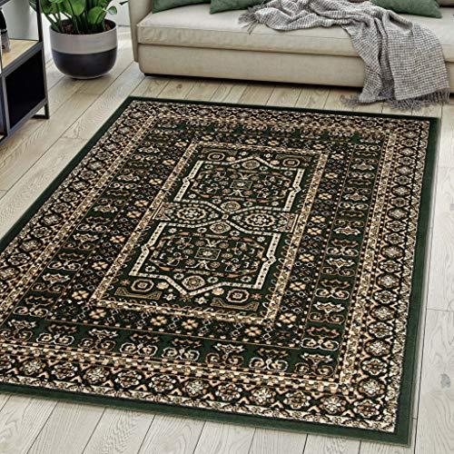 Carpeto Rugs Teppich Orientalisch Grün Klassisch Muster Kurzflor Öko-Tex Wohnzimmer 200 x 300 cm