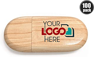 Custom Promotional Wood Thumb Drive 1GB Personalized Jump Drive Printed or Engraved with Your Logo Bulk Wholesale, Maple 100 Pack
