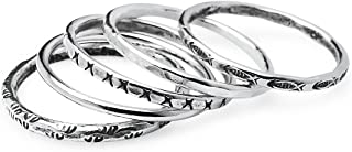 925 Sterling Silver Five Piece Thin Stackable Charm Rings | Size 5 to 10 | Friendship Boho Minimalist Delicate Jewelry