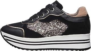 Nero Giardini E010569D Sneakers Femme en Cuir, Cuir Velours Et Toile