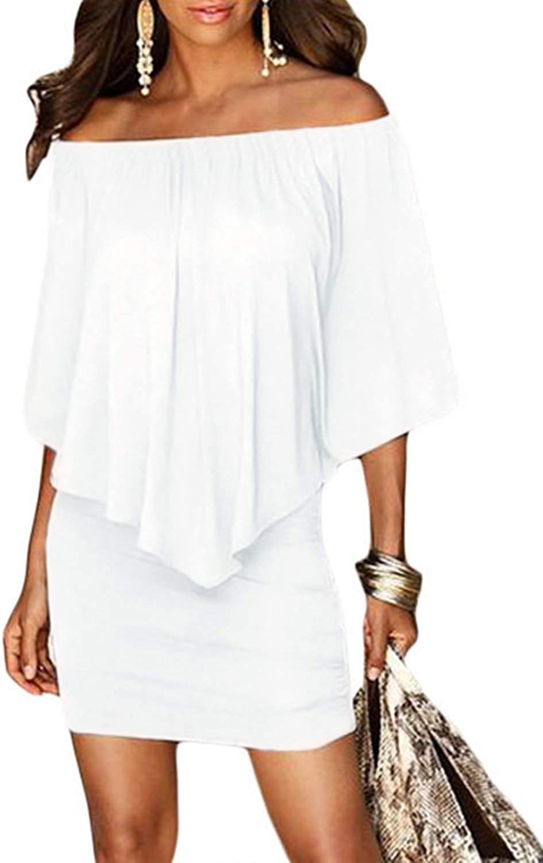 GOSOPIN Women Off Shoulder Boho Party Ruffle Bodycon Mini Dress
