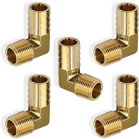 "2Pcs Brass Hose Barb Fitting,90 Degree Elbow,3//8/"" Hose Barbx3//8/"" NPT Male Thread"