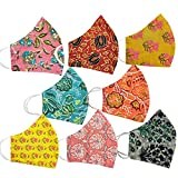 JaipurChoice 100% Cotton Reusable Mask For Women Printed 2 Layer Face Mask / Anti-Pollution Mask / Safety Mask (Multicolor Assorted Prints Masks) (Mask-Pack-of-8)