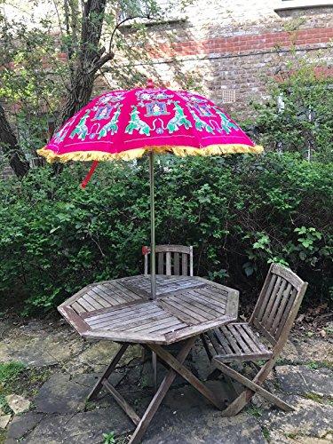Bazzaree Garten Samt Pink Grün Sonnenschirm handgefertigt Bestickt indischen Outdoor Sonne Schatten Terrasse Regenschirm 119,4cm.