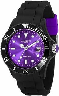 Madison New York - SU4486NU - Montre Mixte - Quartz Analogique - Cadran Violet - Bracelet Silicone Noir