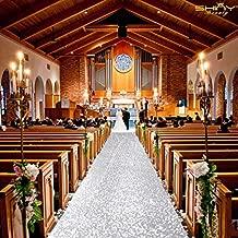 ShinyBeauty Aisle Runners for Weddings 10 ft by 4 ft Silver Aisle Runner Wedding Aisle Runner Outdoor Glitter Runner Church Runner (4FTx10FT, Silver)