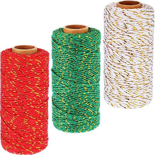 Pangda 984 Feet Christmas Decorative Bakers Twine 2 mm Gift Wrapping Twine Twine Rope Cord with Gold Wire for Christmas DIY Gift Decorations