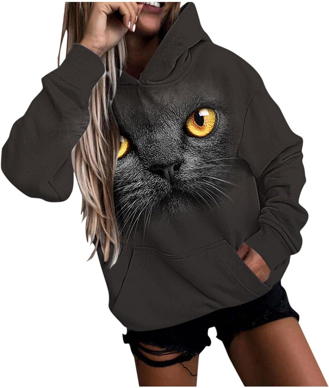 Masbird Hoodies for Women 2021, Womens Cute Hoodies Cat and Dog Print Hoodies Long Sleeve Hooded Sweatshirt Pullover