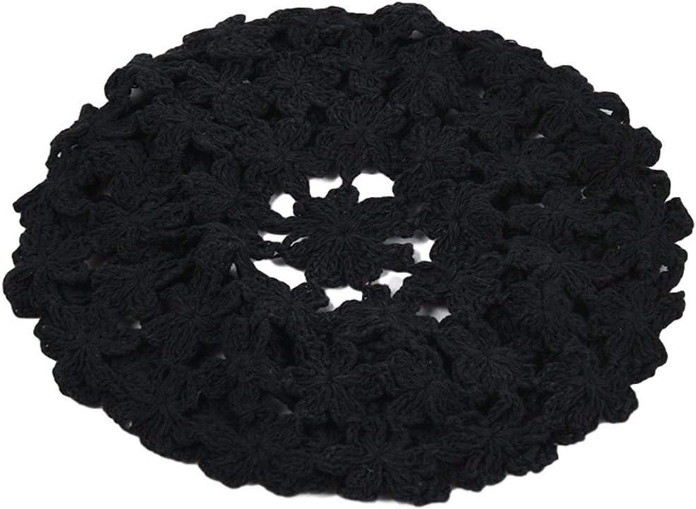 QUQUTWO Women Handmade Crochet Beret Cap Solid Color Hollow Floral Vintage Painter Hat Black