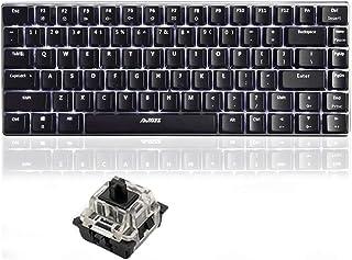 LexonTech 82鍵ゲーミングキーボード メカニカルキーボード 有線 リンボーバックライト メカニカル式 USBケーブル取り外し可能 (黒轴ブラック&ホワイト)