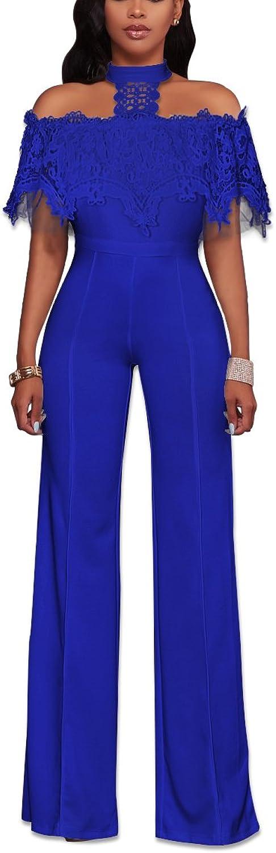 Uni Clau Jumpsuits for Women Elegant  Off Shoulder Halter Ruffle Wide Leg Pants Party Jumpsuits and Rompers
