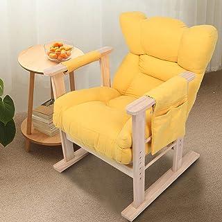 GOTOTOP Sillón regulable en altura, sillón para el tiempo libre, sofá individual, silla reclinable, reposacabezas ajustable, respaldo ajustable, madera de goma + esponja, amarillo