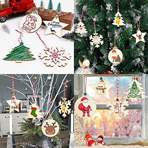 OurWarm 40pcs Wooden Christmas Ornaments Unfinished Wood Slices with Holes for Kids DIY Crafts Centerpieces Holiday Hanging Decorations, 4 Styles