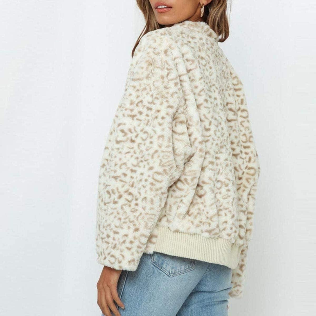 Women's Fashion Leopard Printing Zip Up Jackets Warm Winter Long Sleeve Tops Faux Shearling Shaggy Coat Jacket